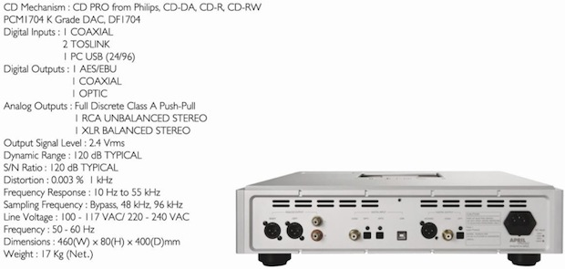 April Music Eximus CD5 CD Player Specifications