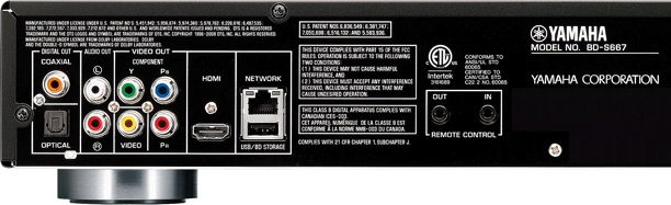 Yamaha BD-S667 Blu-ray Disc Player - Back