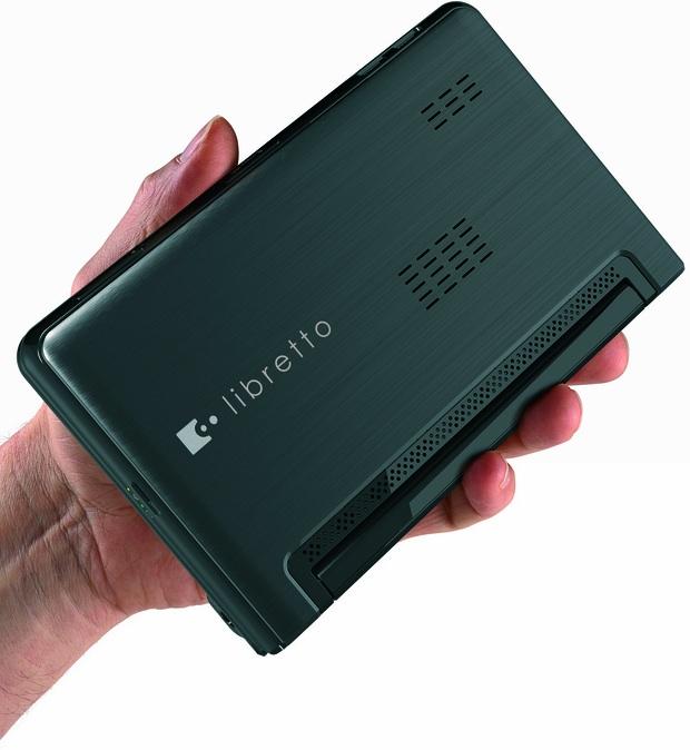 Toshiba libretto W100 Dual Screen Laptop in Hand