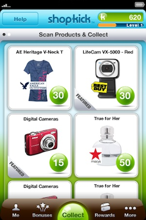 shopkick scan products and collect