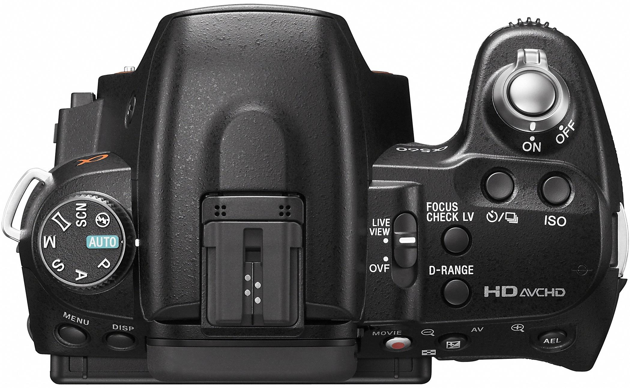 Sony DSLR-A560 Alpha Digital Camera - Top