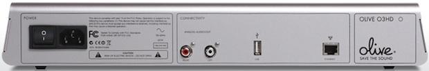 Olive O3HD Digital Music Server - Back