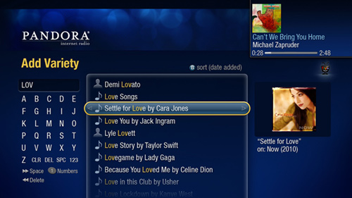 TiVo Premiere Adds Pandora Internet Radio Screenshot