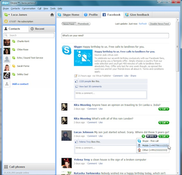 Skype 5.0 for Windows Facebook News Feed Integration