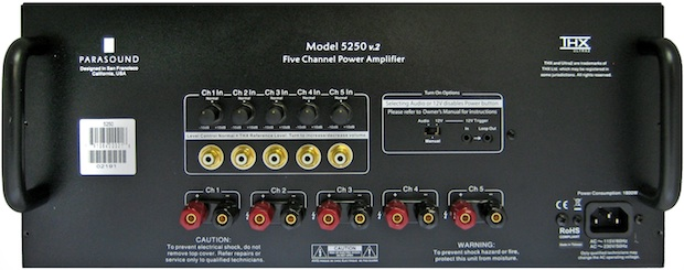 Parasound NewClassic 5250 v.2 Five Channel THX Ultra2 Power Amplifier - Rear