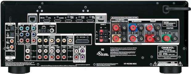 Onkyo HT-RC360 A/V Receiver - Back