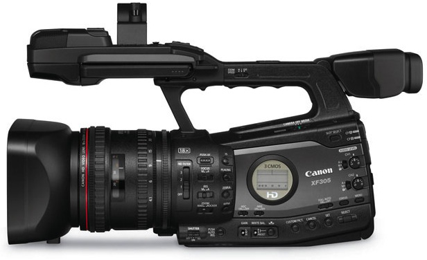 Canon XF305 Professional Camcorder - Side