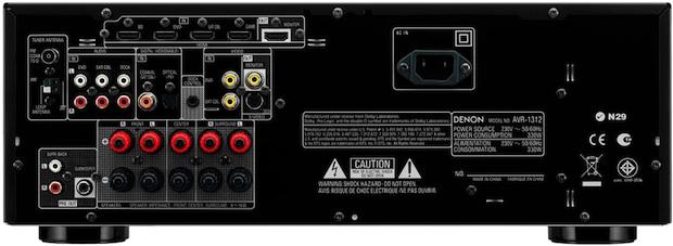 Denon AVR-1312 AV Receiver - Back